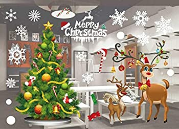 Christmas Clings Window Decorations Stickers Decal Colorful Santa Removable Films Large Wall Door Mural Sticker for Marry Christmas Showcase Holidays Xmas Decoration 55 X 38cm /21.6 X 15   801