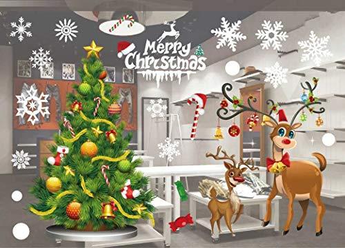 JCT Fensterbilder Weihnachten Fenstersticker Fenster Dekoration Fensteraufkleber Weihnachtsdeko,PVC Fensterdeko, für Türen Schaufenster Vitrinen Glasfronten Deko 55 X 38 cm / 21,6 X 15 '' (801)