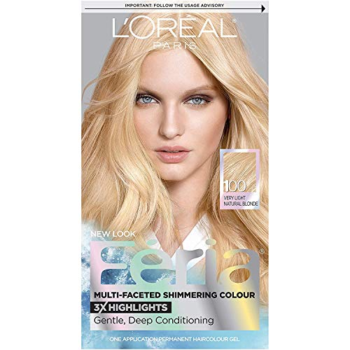 L'Oreal Paris Feria Multi-Faceted Shimmering Permanent Hair Color, 100 Pure Diamond (Very Light Natural Blonde), Pack of 1, Hair Dye