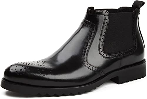 Herren Lederschuhe Herren Lederschuhe Business High-Top-Schuhe britischen Stil wies Tooling Kurze Stiefel Herrenschuhe (Farbe   Schwarz Größe   EU43 UK8)
