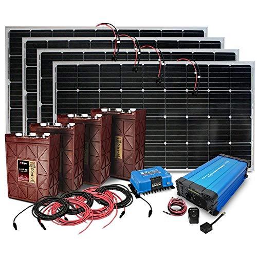 4.000 Watt Insel Solaranlage autarke PV-Anlage PZS mit 4 Solarpanelen, 4 PZS Batterien, Victron MPPT Laderegler, Sinus Wechselrichter, installationsbereit