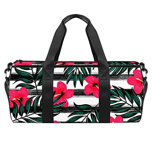 Bolsa de gimnasio floral de hojas tropicales para hombres y mujeres, bolsa de viaje con bolsillo impermeable