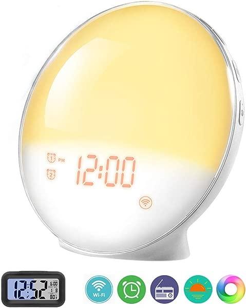 Prismtec Sunrise Alarm Clock Smart Wake Up Light APP Controllable 4 Alarms FM Radio Clock Natural Sounds 7 Colors Sleep Aid Night Light