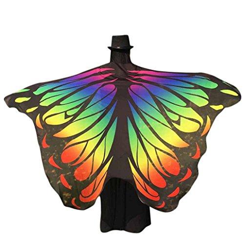 Kobay-Damen ??schmetterling kostüm, KOBAY Frauen Weiches Gewebe Schmetterlingsflügel Schal Fee Damen Nymph Pixie Kostüm Zubehör für Show/Daily/Party (197 * 125CM, Mehrfarbig-3)