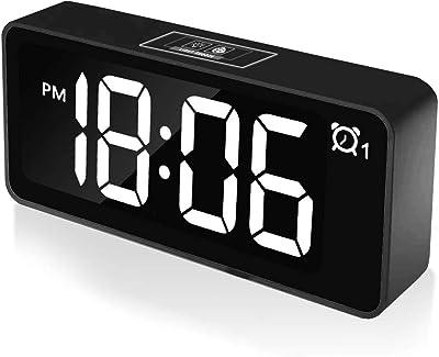 """CHEREEKI Digitaler Wecker, 4,6"""" LED-Display-Uhren mit Sprachsteuerung Funktion, USB-Ladeanschluss, 12/24 Stunden, Snooze Funktion, 25 Weckerlieder, Speicher Batterie, für Schlafzimmer, Büro & Reise"""