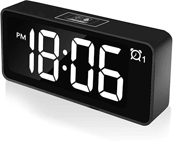 CHEREEKI Digital Alarm Clock 4 6 LED Display Clocks With Dual Alarm USB Charging Port 12 24 Hours Adjustable Brightness Snooze Function 25 Music Backup Battery For Bedroom Office