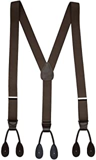 Suspender for Men Y-Back Leather Trimmed Button End Tuxedo Suspenders Many colors and designs