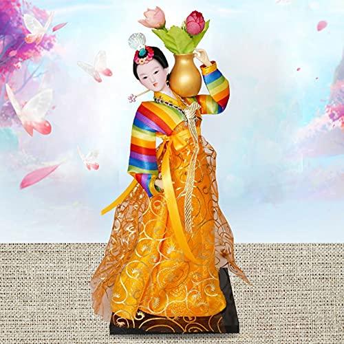 Estilo Coreano muñeca asiática Coleccionable estatuilla decoración Regalo Artesano Oriental Estilo Coreano Seda muñecas de Seda 12 Pulgadas para niños Regalo de cumpleaños de Navidad,Amarillo