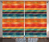 Ambesonne Mexican Curtains, Abstract Vibrant Vintage Aztec Motif Gradient Blurred Lines Ecuador Crafts Image, Living Room Bedroom Window Drapes 2 Panel Set, 108' X 84', Orange