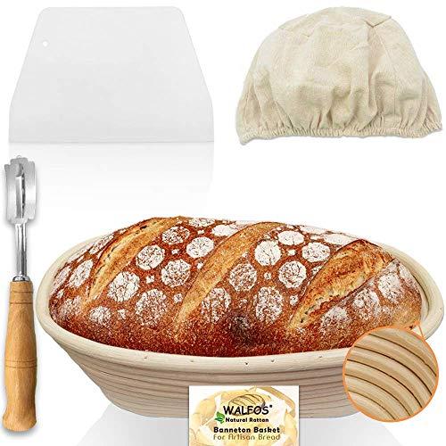 Walfos 10 Zoll Oval Banneton Proofing Basket Set - Sauerteigbrotkorb nach französischer Art, 100% natürliches Rattan - handgefertigtes Brot Lame, Teigschaber und Leinenwäsche inklusive