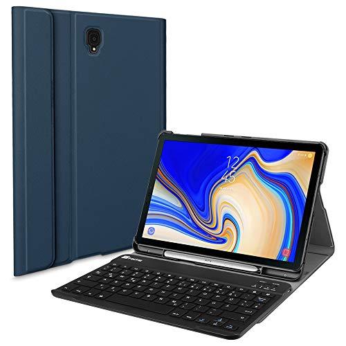 Fintie Tastatur Hülle für Samsung Galaxy Tab S4 T830 / T835 (10.5 Zoll) 2018 Tablet-PC - Superdünn Schutzhülle mit magnetisch Abnehmbarer drahtloser Deutscher Bluetooth Tastatur, Marineblau