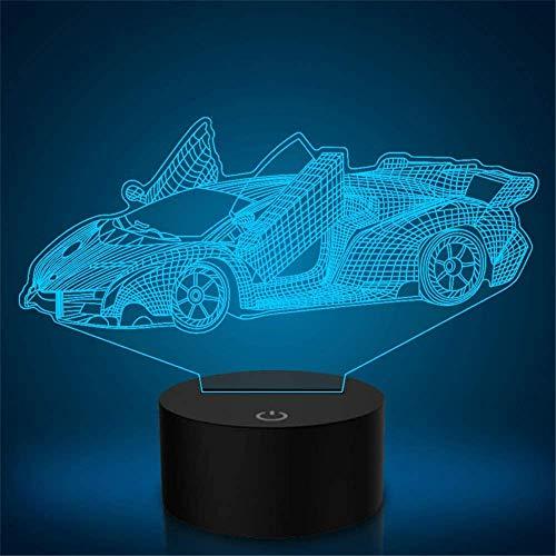 Lámpara de ilusión 3D para coche, deportivo, 16 colores, con sensor táctil USB, para dormitorio, para regalo de cumpleaños, decoración del hogar