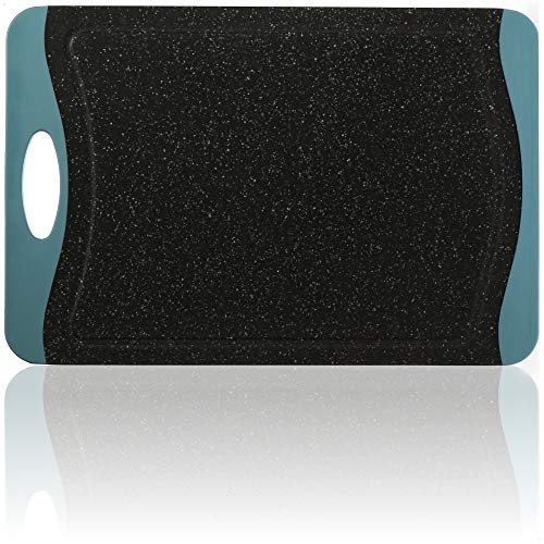 COM-FOUR Tabla de cortar de plástico PP - Tabla de cocina con ranura para el zumo - Tabla de cortar robusta para la cocina - apta para el lavavajillas (01 pieza - aspecto granito)