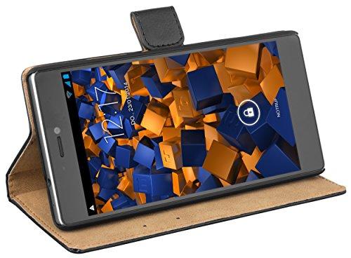mumbi Echt Leder Bookstyle Case kompatibel mit Huawei P8 Hülle Leder Tasche Case Wallet, schwarz