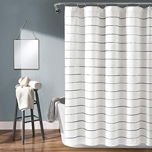 """Lush Decor, Gray Ombre Stripe Yarn Dyed Cotton Shower Curtain, 72"""" x 72"""""""