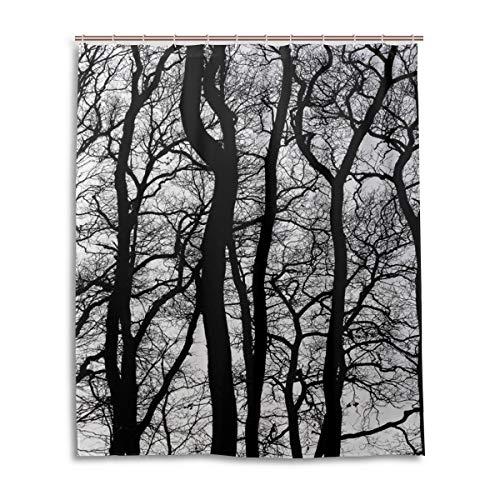 JSTEL Decor Duschvorhang schwarz & weiß Vintage Baum Muster Druck 100prozent Polyester Stoff Duschvorhang Duschvorhang 152,4 x 182,9 cm für Zuhause Badezimmer Deko Duschvorhang