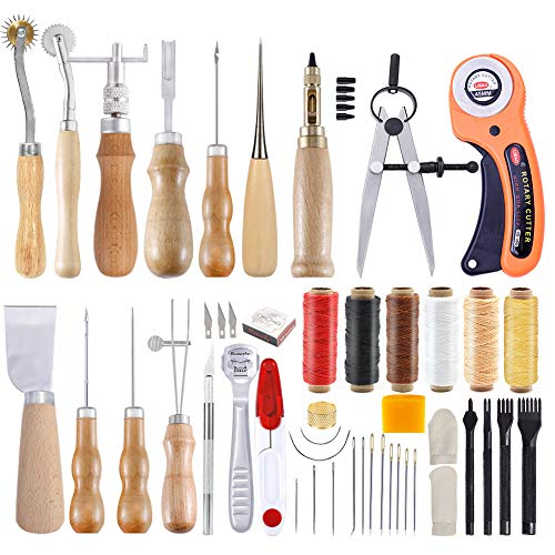 53 Pcs Leather Tools, Leather Tool Set with Instruction, Leather Groover,...