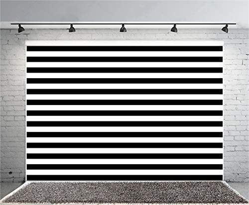KSZUT Art Studio Black and White Stripe Photo Background for Bride Baby Shower Party Supplies Photography Studio Props Photo Booth Backdrops Vinyl 7x5ft