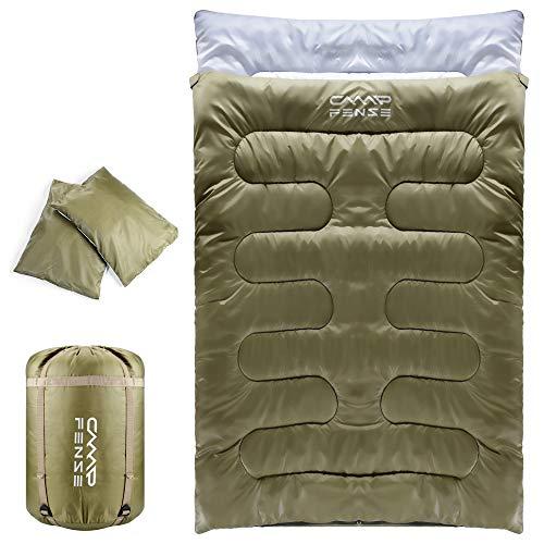 CampFENSE Saco de Dormir Doble con Dos Almohadas