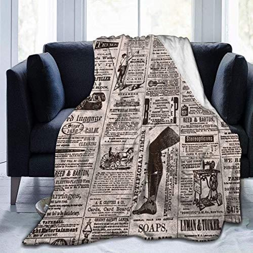 AEMAPE Manta de Tiro Alfombra térmica de periódico Sofá de Sala de Estar para Hombres Alfombrilla para Dormir Funda de Franela para Invierno 50 'x 60'