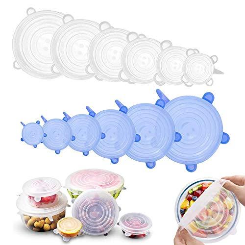 Tapa de silicona para alimentos de GLEADING, tapa de silicona para alimentos frescos y sobras: mantiene la comida fresca, tapa duradera y extensible, adecuada para varias formas de contenedore