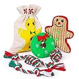Toozey Navidad Juguetes para Perros Juguete Perro 5 Piezas de Juguetes para Perros Juguetes para Perros pequeños interactivos Mordedor Perro y Perros Hombre de Pan de Jengibre
