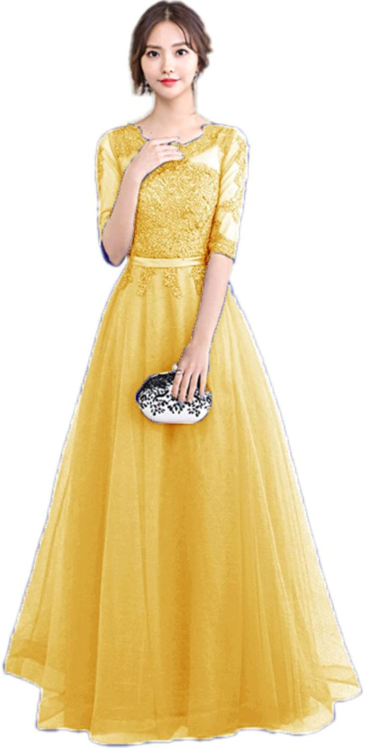 APXPF Women's Full Length Sleeves Lace Bridesmaid Prom Dress Evening Party Gown