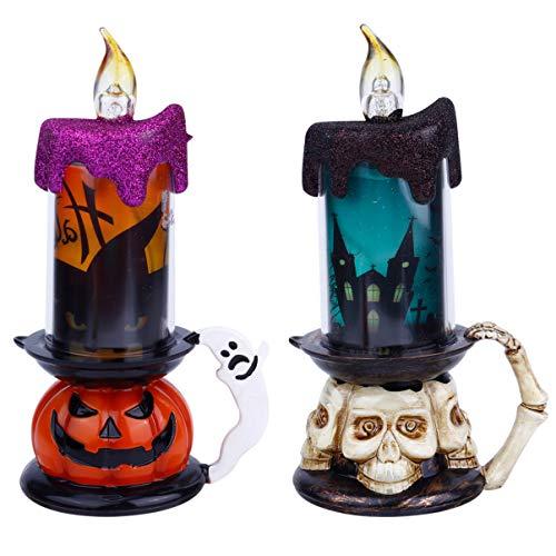ULTECHNOVO Pack of 2 Halloween Flameless Candle LED Light Skull Pumpkin Figure Night Lamp for Festival Room Bar Hotel Party Decor