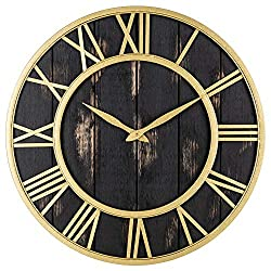 Oldtown Clocks Gold and Black Washed Home Decor Wall Clock - Metal & Solid Wood Noiseless Wall Clock (Black Gold, 24-inch)