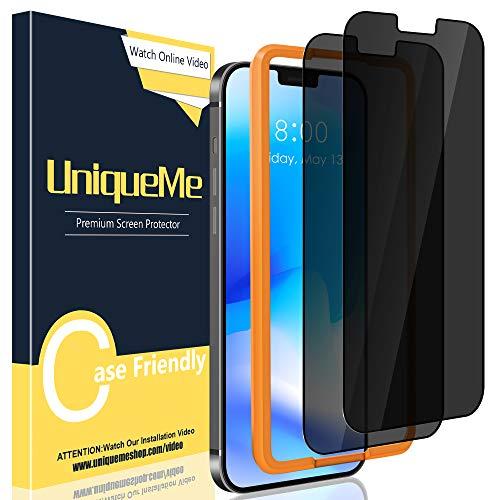 UniqueMe [2 Pack Intimidad Protector de Pantalla Compatible con iPhone 12 / iPhone 12 Pro 6.1 Pulgadas, [Anti Voyeur] Vidrio Templado [9H Dureza] HD Film Cristal Templado [Recorte en Forma de U]