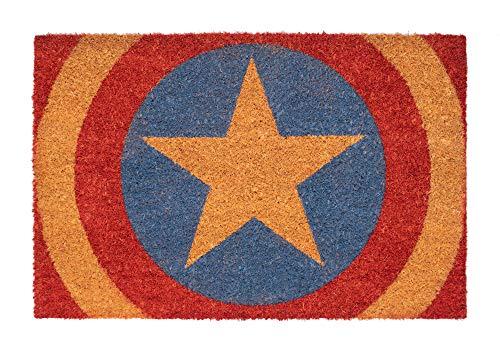 Felpudo Marvel Capitán America Shield - Felpudo entrada casa antideslizante 40 x 60 cm - Alfombra entrada casa exterior Capitán América, Fabricado en fibra de coco - Productos con licencia oficial