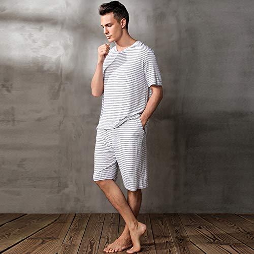 YHSW Conjunto de Pijamas de Verano para Hombres,Camiseta de Manga Corta,Ropa Informal,Pijamas de Verano,Pantalones Cortos de algodón en la Parte Superior e Inferior (S-XXL)
