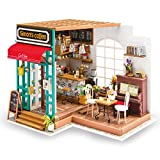 Rolife Dollhouse Wooden Mini House Crafts-DIY Model Kits with Furniture and Accessories- Handmade Construction Kit-Christmas Birthday Gifts for Boys Girls Women Friends (Simon's Coffee)
