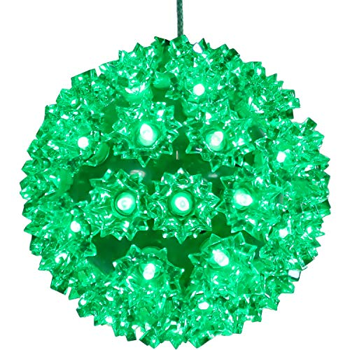 Sunnydaze 5-Inch Colored Lighted Ball Hanging Ornament - 50 LED Bulbs - UL-Listed Indoor/Outdoor Electric Plug-In Decor - Christmas and Holiday Decorations - Multi