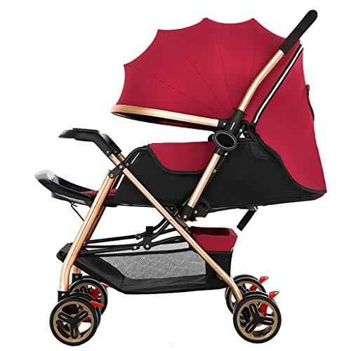 BLWX - Peut s'asseoir à Plat Poussette inclinable Ultra-léger Mise en œuvre bidirectionnelle Parapluie Pliant Poussette pour bébé Poussette pour bébé Poussette (Couleur : Red)