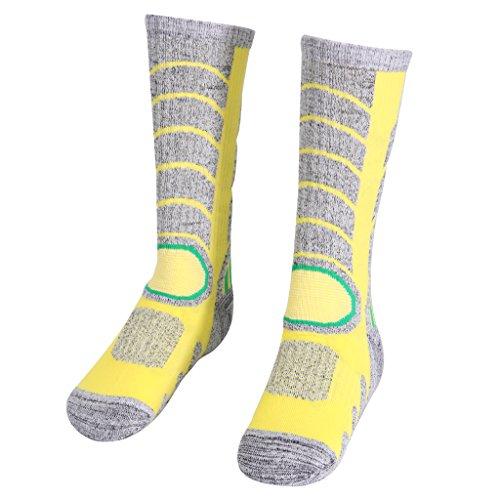 Meias masculinas femininas de inverno para aquecer esportes caminhadas, montanhismo, esqui de neve, térmica, botas de cano longo 5-9 – amarelas, M
