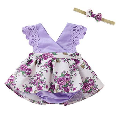 Julhold Combinaison de Soleil sans Manches pour bébé et Fille Motif Floral Rose 0-2 Ans - Violet - 23 EU