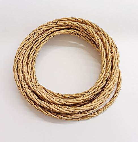 Cavo elettrico in treccia di seta - intrecciato vintage - colore Oro - Cavo di terra evidenziato - metri 5-3X0,75