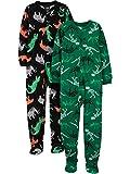 Simple Joys by Carter's Little Kid Boys' 2-Pack Loose-Fit Fleece Footed Pajamas, Dinosaur/Animals, 4