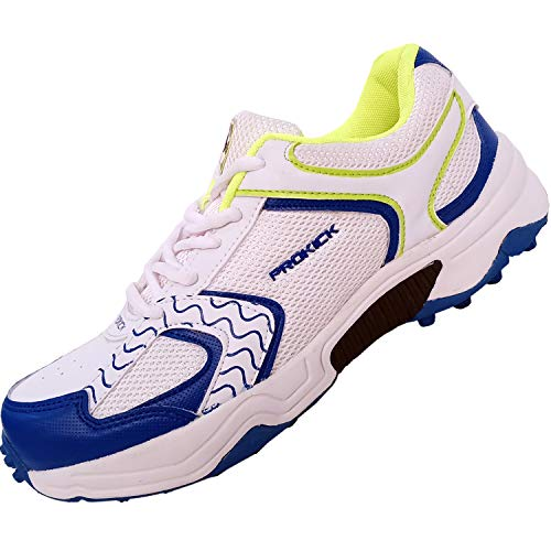 SG Prokick Rubber Spikes Limited Edition Cricket Shoes for Men - White/Lime, 7UK