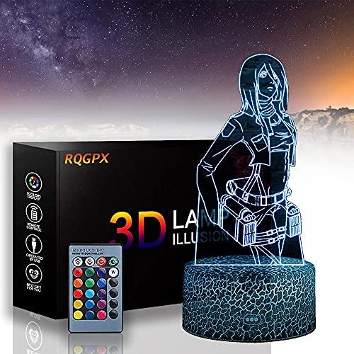 Mikasa Ackerman C Attack on Titan 3D Ilusion Night Lamp Luces de noche para niños de 16 colores Luz de aire caliente globo noche luz para cumpleaños vacaciones decoración regalo