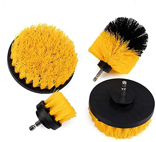 LiuliuBull L 4Pcs/Set 1/4' Shank Combo Power Scrubber Cleaning Drill Brush Kit For Bathroom Surface,Grout,Tub,Shower,Kitchen,Floor,Tile,Corners,Grill Cleaning Brush