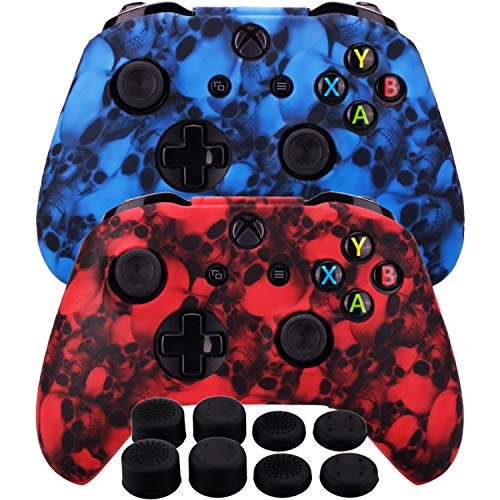 MXRC Silicone Rubber Cover Skin Case Anti-Slip Water Transfer Customize Camouflage for Xbox One/S/X Controller x 2(Skull Red + Blue) + FPS PRO Extra Height Thumb Grips x 8