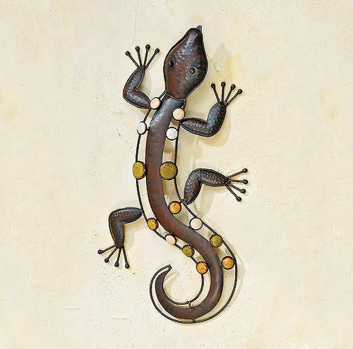 zeitzone Wandobjekt Salamander Echse Nizza Wanddeko Metall 52cm
