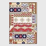 whmckl Americano Rojo Amarillo Blanco Costura geométrica Estilo étnico Sala de Estar Dormitorio Cocina mesita de Noche Alfombra alfombra140*200