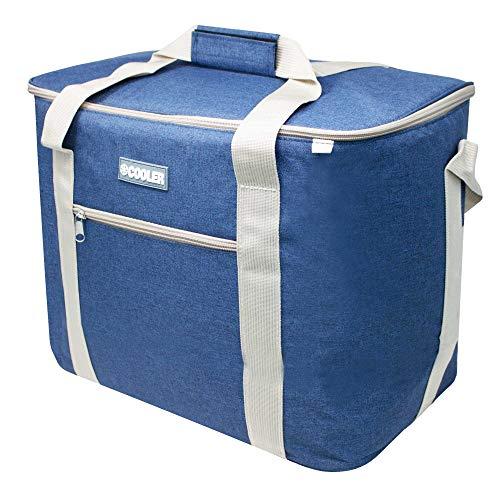 ToCi Nevera portátil grande de 36 litros, bolsa isotérmica, bolsa de pícnic, color azul marino para picnic, camping, vacaciones, senderismo