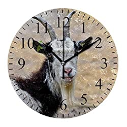 CENHOME Custom Wall Clock Goat Animal Mammal Farm Sheep Home Decor Round Acrylic Clock Large Numbers Silent Non-Ticking Battery Operated Decorative Room Painting Clock 9.45in