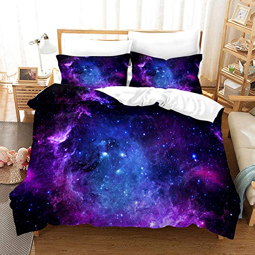 MUSOLEI Starry Sky Single Bedding Set Girls,3D Bule Quilt Duvet Cover Sets with Pillow Case,Star Bed Cover Soft,Lovely Nebula Duvet Set,Zipper(Starry Sky,Single)