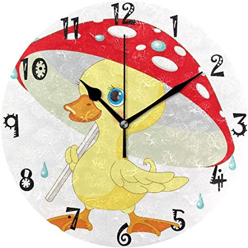 Mesllings Art - Reloj de pared circular con diseño de pato, color rojo y amarillo