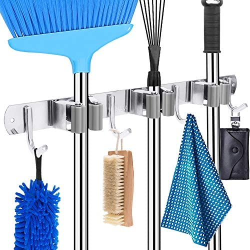 HYRIXDIRECT Mop and Broom Holder Wall Mount Heavy Duty Broom Holder Wall Mounted Broom Organizer product image